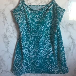 Ann Taylor Loft Teal and Ivory Paisley Camisole